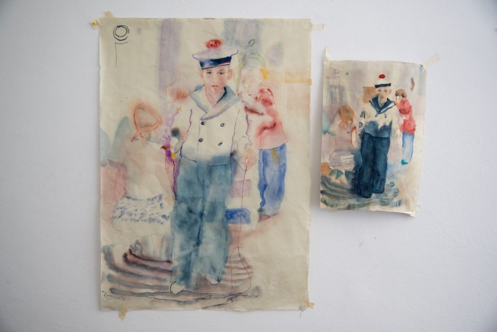 Watercolors of a young sailor on Japanese paper by Marina Karella