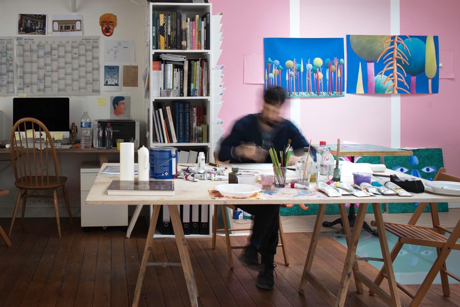 Nicolas Party working in the studio