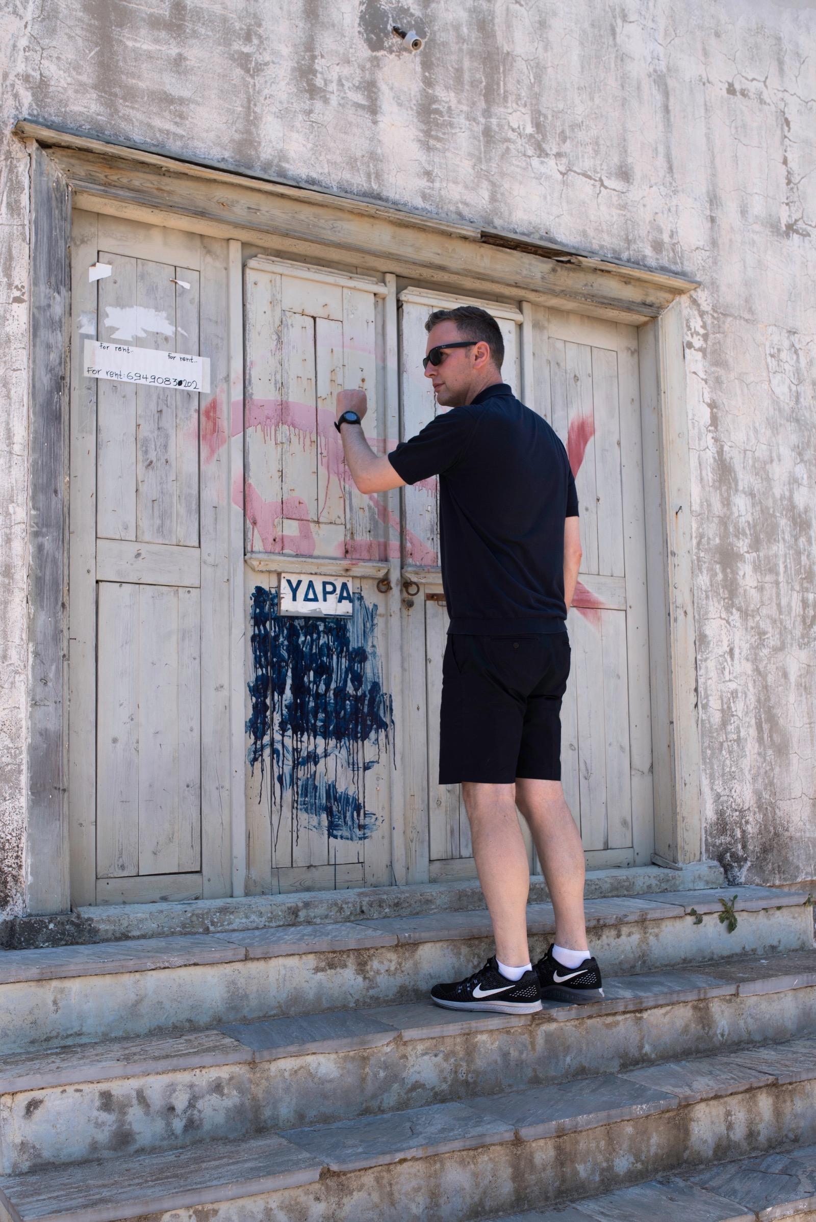 David Shrigley portrait Greece